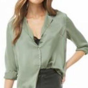 NWT Ann Taylor Olive Button Down Shirt Size M